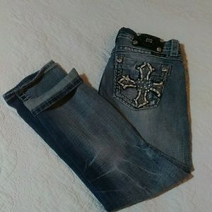 Miss Me Jeans - Miss Me Leather Jeweled Cross Pocket Capri Jeans